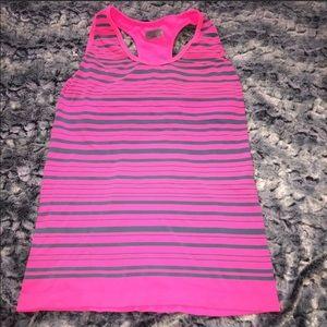 Athleta VEUC pink gray stripe shelf bra